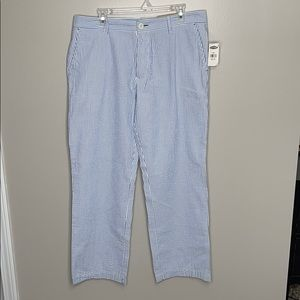 Old Navy Blue White Striped Wide Leg Khakis